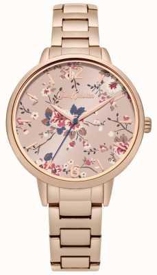 Cath Kidston Quadrante rosa floreale con cinturino in oro rosa CKL038RGM