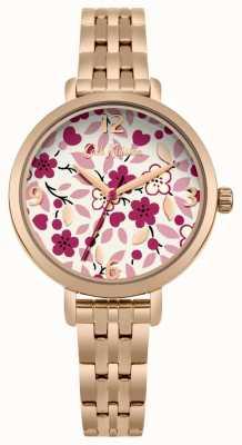 Cath Kidston Quadrante con stampa floreale con bracciale in oro rosa CKL037RGM