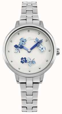 Cath Kidston Bracciale in acciaio inossidabile con quadrante bianco con stampa floreale blu CKL039SM