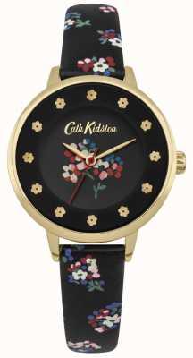 Cath Kidston Quadrante nero con quadretti floreali ore d'oro CKL040BG