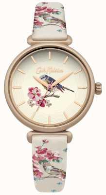 Cath Kidston Quadrante placcato oro floreale con cinturino floreale stampato a forma di uccello CKL041EG