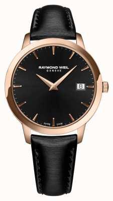 Raymond Weil Quadrante nero in cinturino in pelle nera toccata 5388-PC5-20001