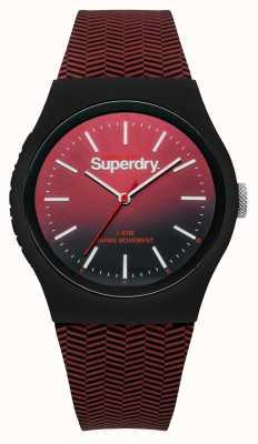 Superdry Cinturino rosso con quadrante sfumato rosso a nero SYG184RB