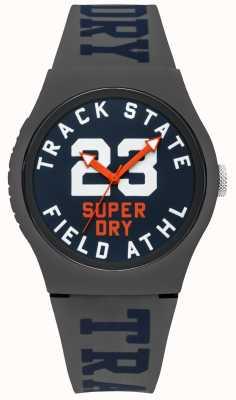 Superdry Traccia dello stato della traccia quadrante blu con cinturino grigio SYG182UE