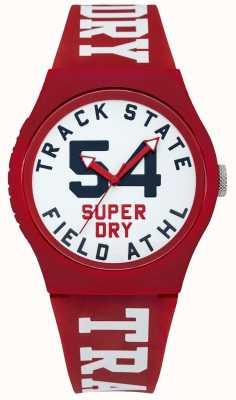 Superdry Traccia dello stato della traccia quadrante bianco cinturino rosso SYG182WR