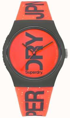 Superdry Cinturino in caucciù nero con quadrante rosso urbano SYL189CE