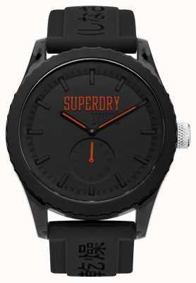 Superdry Tracolla in silicone nero con quadrante nero arancio di Tokyo SYG145BB