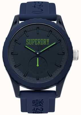 Superdry Cinturino in silicone blu con cinturino verde Tokyo SYG145UU