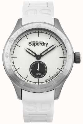 Superdry Cassa quadrante bianca in acciaio inossidabile con cinturino in silicone bianco SYG212W