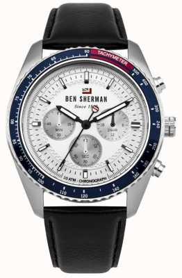 Ben Sherman Il cronografo ronnie in pelle nera a quadrante bianco WBS108UB