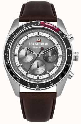 Ben Sherman Il cronografo grigio cronografo ronnie cinturino in pelle marrone WBS108BT