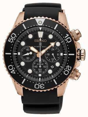 Seiko Custodia in oro rosa cronografo prospex con cinturino in caucciù nero SSC618P1