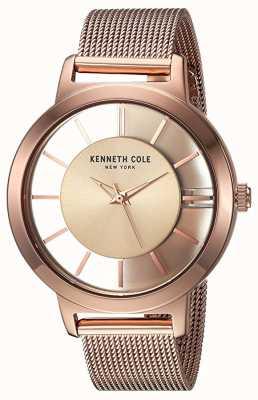 Kenneth Cole Maglia in acciaio inossidabile oro rosa di quarzo delle donne di New York KC15172002