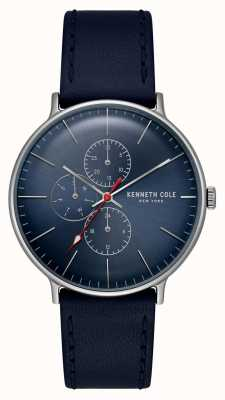 Kenneth Cole Bracciale in pelle con quadrante blu con data quadrante new york KC15189001