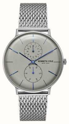 Kenneth Cole Bracciale a maglie quadrate in acciaio inossidabile con quadrante grigio quarzo new york KC15188002