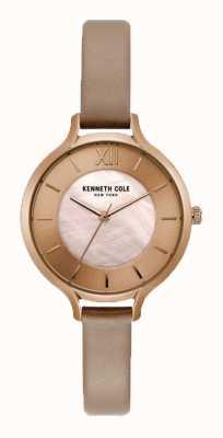 Kenneth Cole Cinturino in pelle color champagne con cassa nude per donna KC15187004