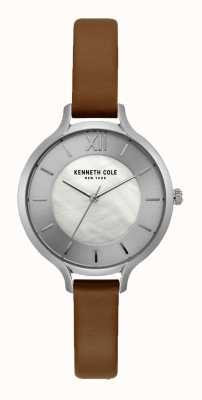 Kenneth Cole Cinturino in pelle marrone scuro con quadrante argentato New york KC15187005
