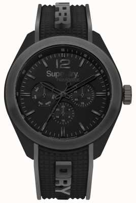 Superdry Altoparlanti grigio lucido nero con cinturino in silicone SYG215EB