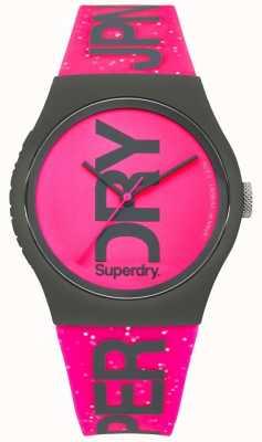 Superdry Womans urban glitter cinturino rosa brillante e quadrante SYL189PP