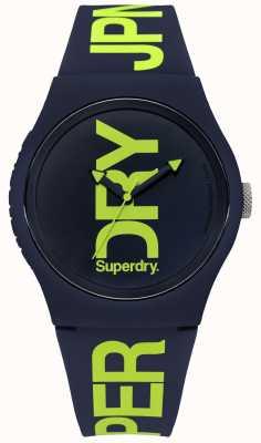 Superdry Silicone blu navy con stampa di testo verde SYG189UN