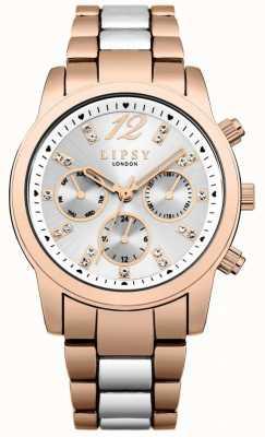Lipsy Cronografo argento quadrante sunray oro rosa e argento bicolore LP529
