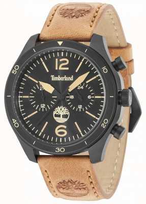 Timberland Cinturino in pelle marrone scuro con quadrante nero Gloucester 15255JSB/02