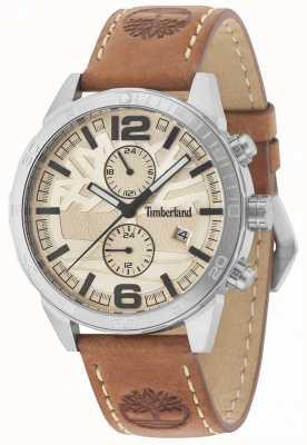 Timberland Cinturino in pelle marrone chiaro Sagamore color crema 15256JS/07