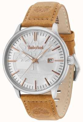 Timberland Cinturino in pelle marrone chiaro con quadrante argentato Edgemont 15260JS/04