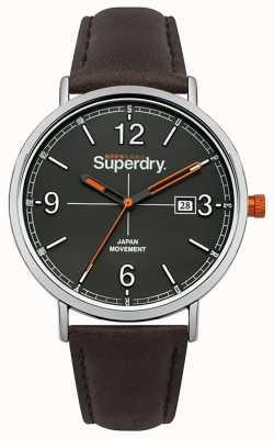 Superdry Quadrante grigio cinturino in pelle marrone scuro SYG190BR