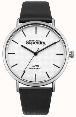 Superdry Quadrante nero con cinturino in pelle bianca SYL190B