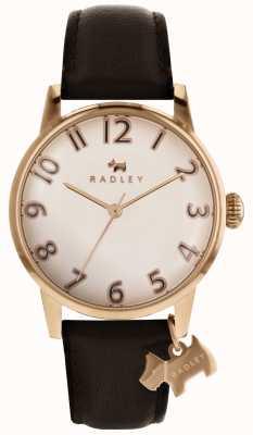 Radley Womans liverpool quadrante in oro rosa con cinturino in pelle marrone scuro RY2592