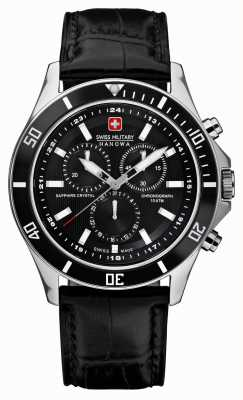Swiss Military Hanowa Cinturino in pelle nera cronografo nera 6-4183.7.04.007