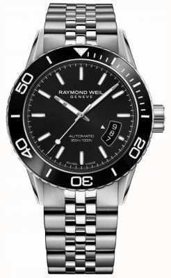 Raymond Weil Quadrante nero in braccialetto in acciaio inox tango in acciaio 8260-ST1-20001