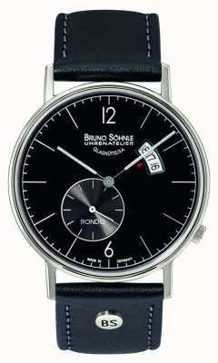 Bruno Sohnle Rondo grande quadrante nero 38mm quadrante nero con indicazione del giorno e della data 17-13053-761
