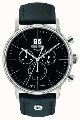 Bruno Sohnle Cronografo di Stoccarda quadrante nero in acciaio 42 mm al quarzo 17-13177-741