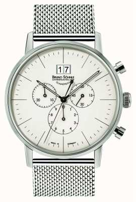 Bruno Sohnle Cronografo di Stoccarda quadrante bianco 42mm al quarzo in acciaio inossidabile 17-13177-240
