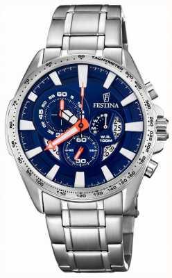 Festina Orologio cronografo e datario con quadrante blu in acciaio inossidabile F6864/3