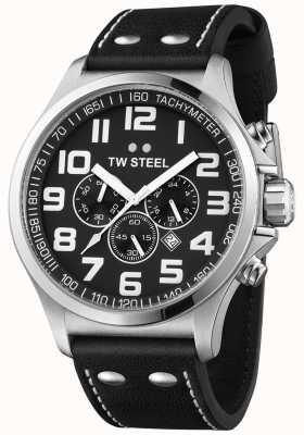 TW Steel Cinturino da uomo cronografo nero cinturino in pelle nera quadrante TW413