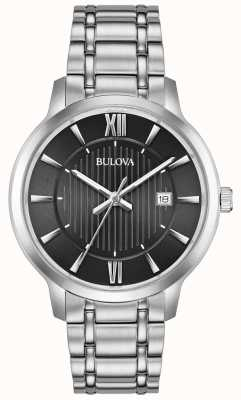 Bulova Braccialetto in acciaio inossidabile con quadrante nero con datario 96B278
