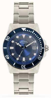 Rotary Quadrante blu con cinturino in acciaio inossidabile GB00487/05