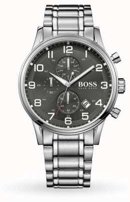 Hugo Boss Bracciale in acciaio inossidabile con quadrante grigio con quadrante con data di aeroliner 1513181