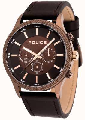 Police Orologio da uomo in pelle marrone con passo da uomo 15002JSBN/12