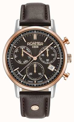 Roamer Vanguard mens marrone in pelle marrone quadrante rosa lunetta in oro 975819495509