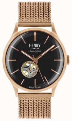 Henry London Bracciale automatico in oro rosa con placcatura oro rosa HL42-AM-0286