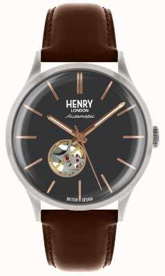 Henry London Cinturino automatico uomo in pelle marrone con quadrante blu HL42-AS-0281