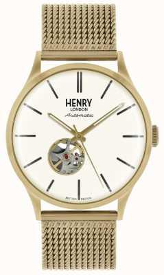 Henry London Quadrante quadrante bianco con cinturino automatico in maglia color oro HL42-AM-0284