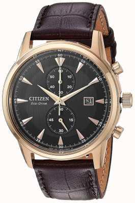 Citizen Cinturino in pelle marrone con datario cronografo da uomo CA7003-06E