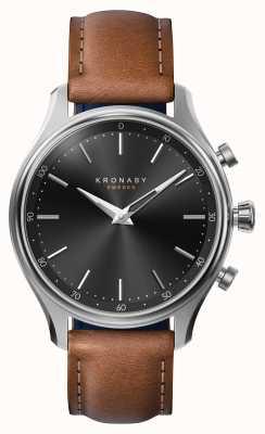 Kronaby Smartwatch con cinturino in pelle bluetooth in acciaio sekel da 38mm A1000-2749