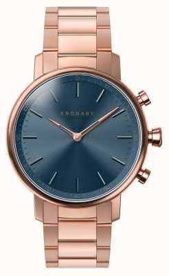 Kronaby Bracciale in oro rosa bluetooth da 38 mm con quadrante blu smartwatch A1000-2445