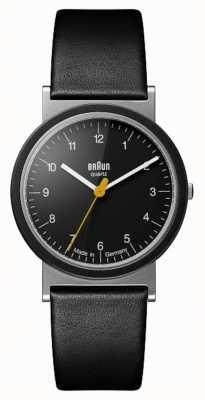 Braun Quadrante nero con cinturino in pelle nera design tributo classico 1989 AW10